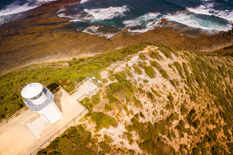 Cape Liptrap lighthouse. Scenic aerial view of Cape Liptrap lighthouse in Victoria, Australia. Darby River royalty free stock photography