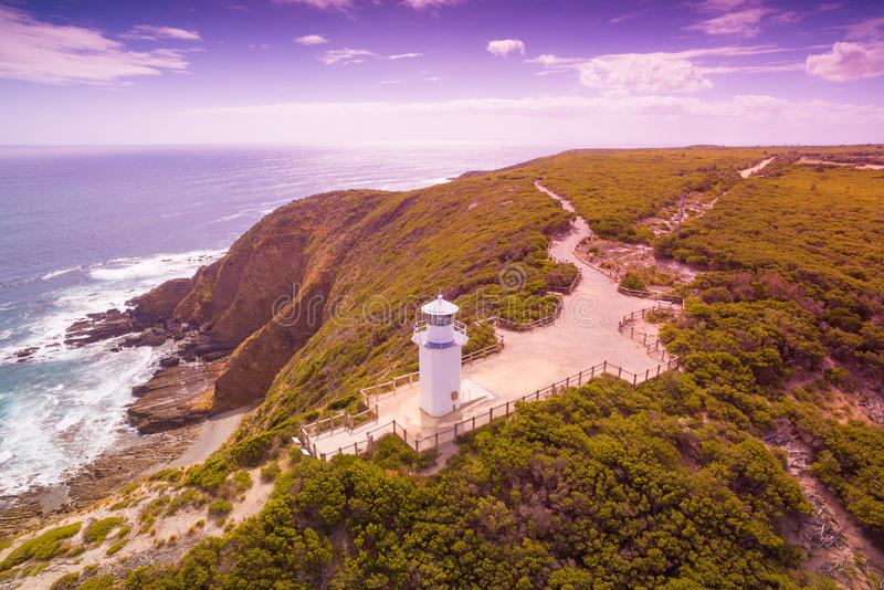 Cape Liptrap lighthouse. Scenic aerial view of Cape Liptrap lighthouse in Victoria, Australia. Darby River royalty free stock photo