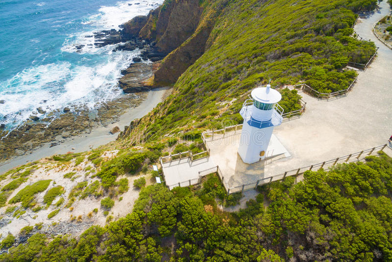Cape Liptrap lighthouse. Scenic aerial view of Cape Liptrap lighthouse in Victoria, Australia. Darby River stock photos
