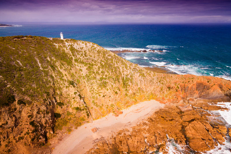 Cape Liptrap lighthouse. Scenic aerial view of Cape Liptrap lighthouse in Victoria, Australia. Darby River stock photo