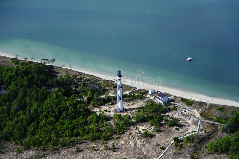 Cape Lookout lighthouse. The Cape Lookout lighthouse on the Southern Outer Banks of North Carolina stock photo