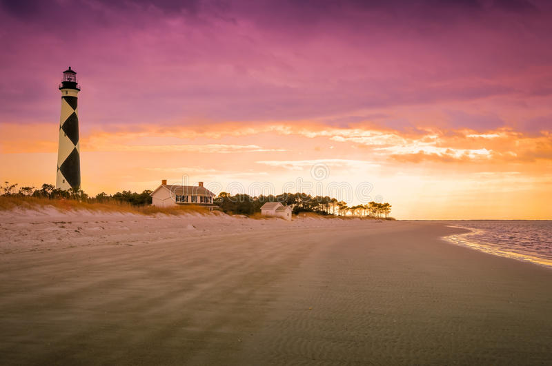 Cape Lookout Lighthouse. At sunset stock image
