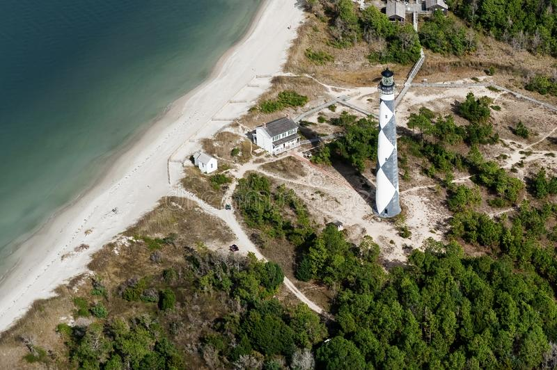 Cape Lookout National Seashore. Aerial view over Cape Lookout National Seashore and its Lighthouse on the Outer Banks of North Carolina, USA stock images