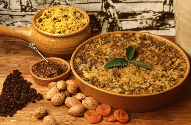 Cape malay babotie. Recipe fortraditional cape malay bobotie in setting stock images