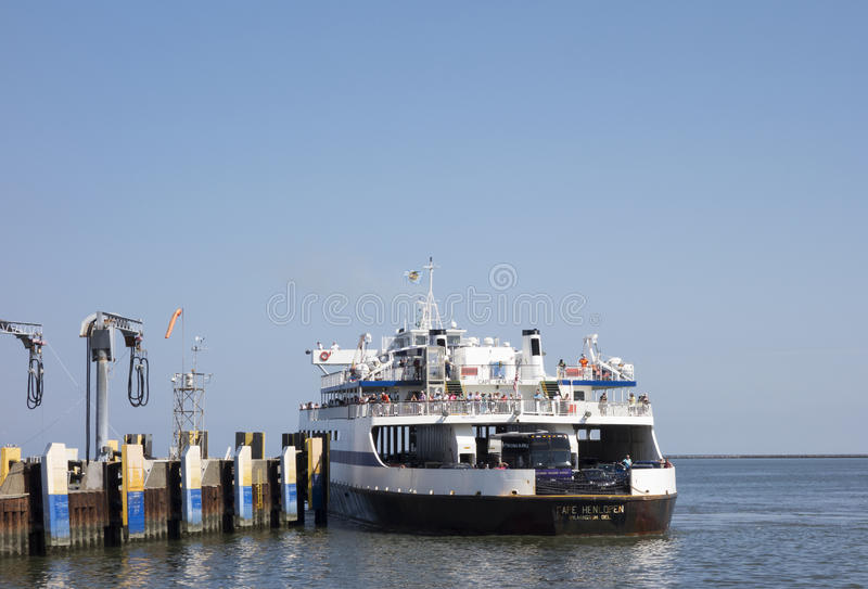 Cape May-Lewes Ferry. DELAWARE, UNITED STATES - SEPTEMBER 4, 2014: The Cape Henlopen, one of the Cape May-Lewes Ferry fleet pulls into dock after returning from stock images