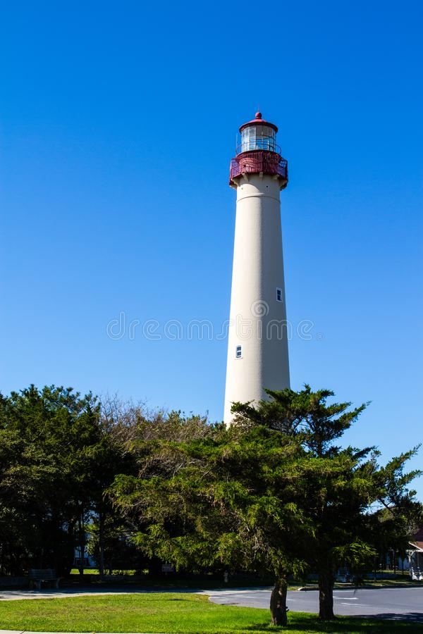 Cape May Lighthouse on a sunny day stock images
