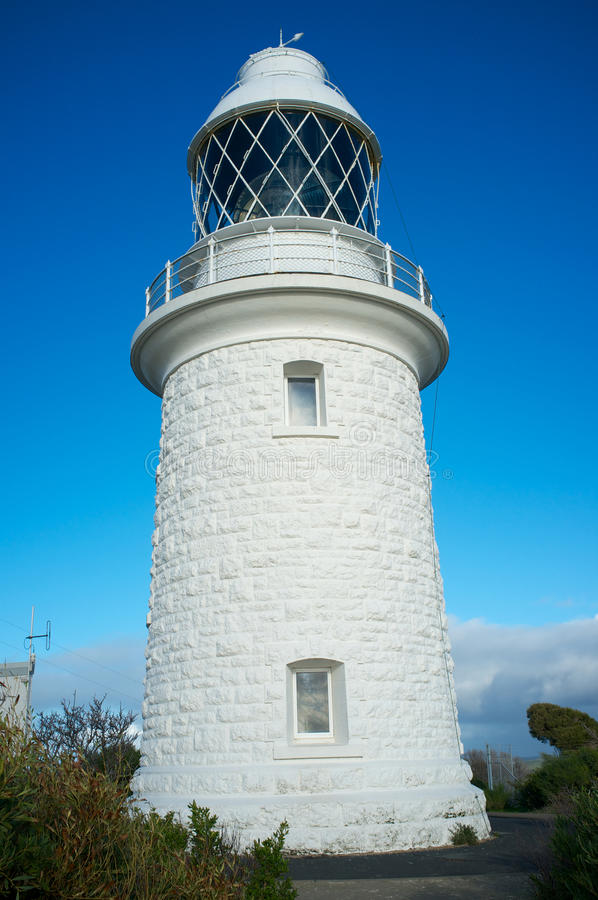 Cape Naturaliste Lighthouse, south western Australia. Cape Naturaliste is the site of a lighthouse which was activated in 1904. It is a 20 metres (66 ft) high stock photography