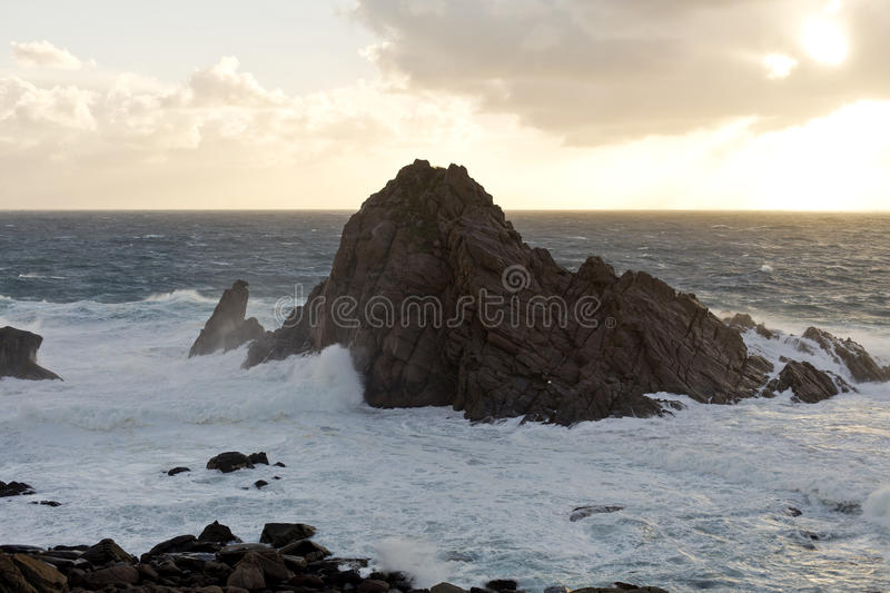 Cape Naturaliste Sugarloaf. Is a gneiss outcrop created by huge pressures and temperatures generated by continental drift, which altered the structure, and royalty free stock photo
