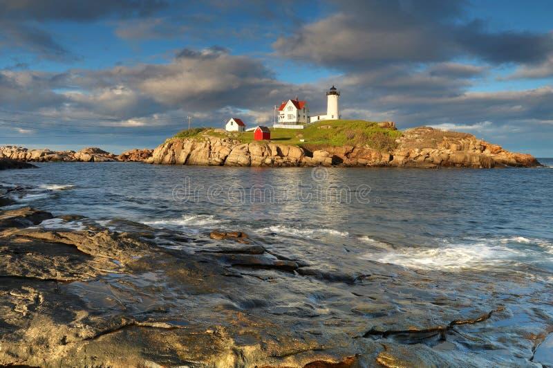 Cape Neddick lighthouse. Landscape with Cape Neddick lighthouse in Maine stock image