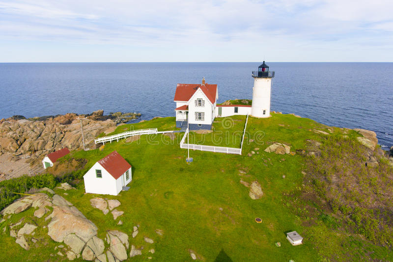 Cape Neddick Lighthouse, Old York Village, Maine stock photos