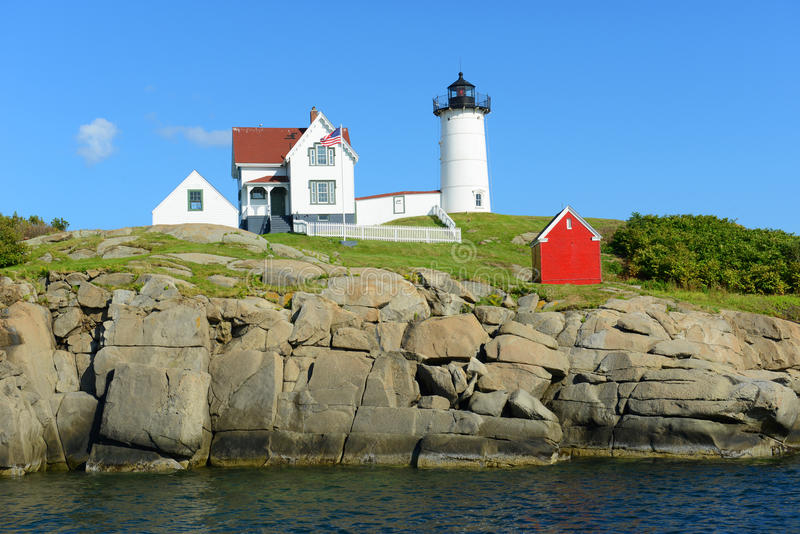 Cape Neddick Lighthouse, Old York Village, Maine,. Cape Neddick Lighthouse (Nubble Lighthouse) at Old York Village, Maine, USA stock image
