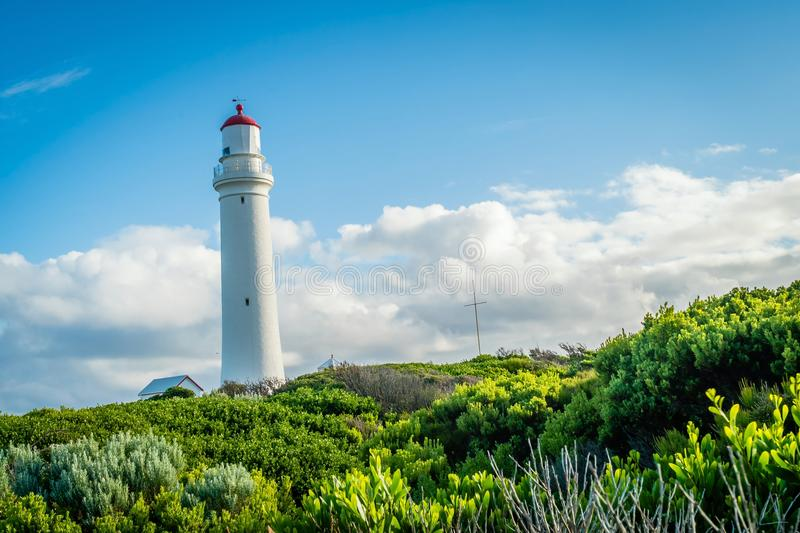 Cape Nelson lighthouse in Victoria, Australia, in the summer stock photos