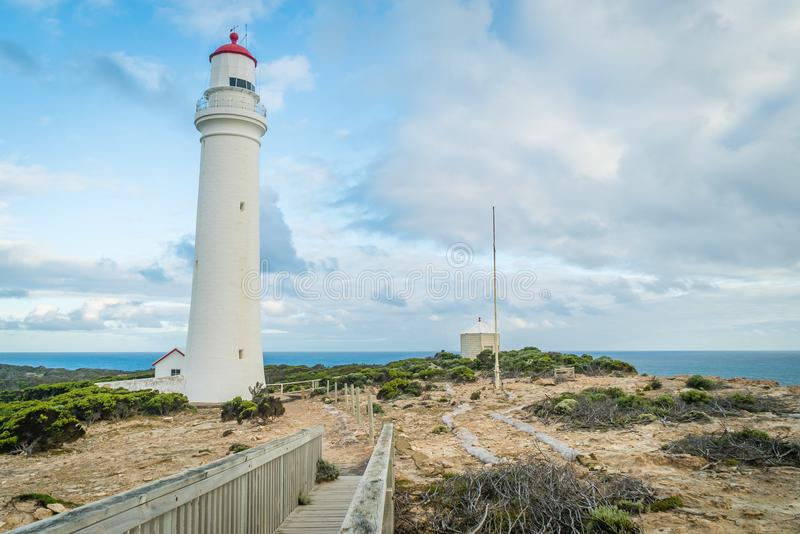 Cape Nelson white and red lighthouse in Australia stock image
