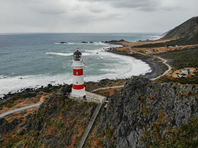 Cape palliser lighthouse, New Zealand stock photo