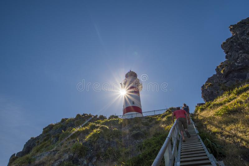 Cape Palliser in North Island red and white stripe lighthouse royalty free stock photos