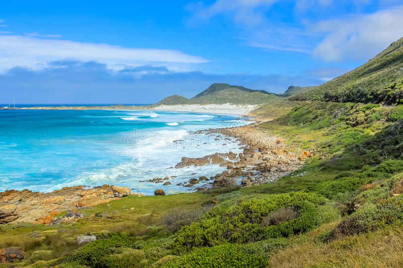 Cape Peninsula Scarborough Beach. Scenic landscape of the Atlantic coast of Scarborough Beach near village of Misty Cliffs, Cape Peninsula in South Africa stock photo
