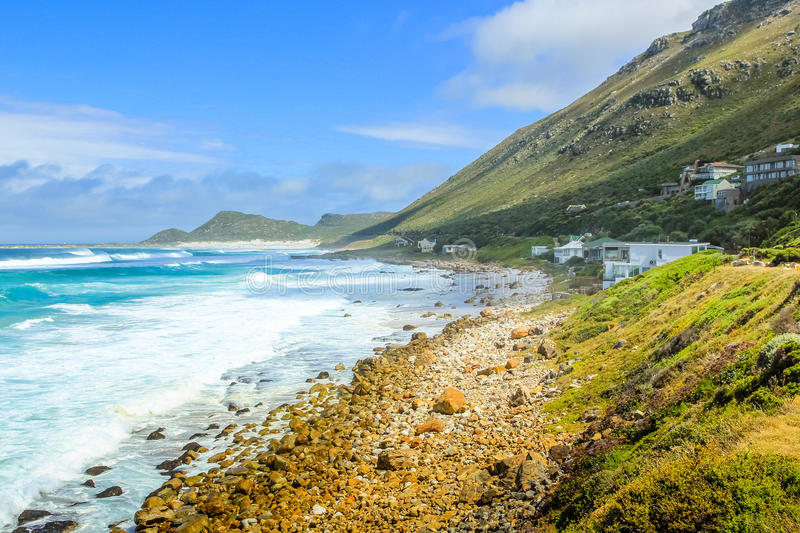 Cape Peninsula Scarborough. Scenic landscape of the Atlantic coast. Scarborough village in Cape Peninsula, South Africa. Scenic drive, main road to Cape of Good stock images