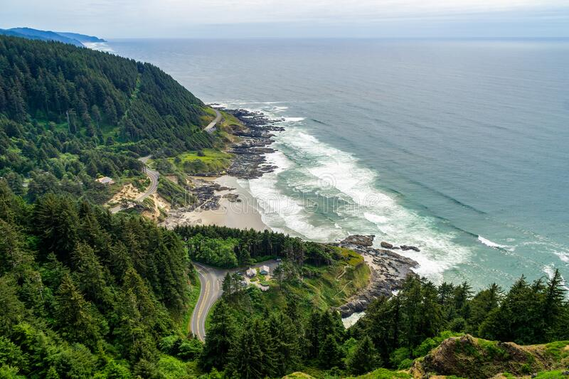 Cape Perpetua Scenic Overlook. Aerial view of the Cape Perpetua coastline from the Devils Churn to the Cooks Chasm, Yachats, stock image
