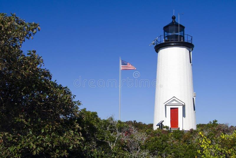 Cape Poge Lighthouse on Martha's Vineyard. Cape Poge lighthouse on sunny day on Martha's Vineyard in Massachusetts stock photos