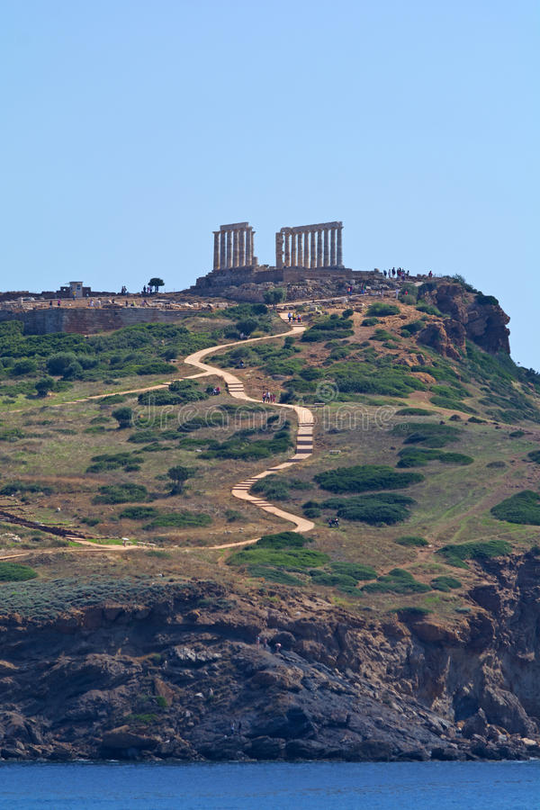 Cape Sounion. Close up of cape Sounion, Athens - Greece. Cape Sounion is the site of ruins of an ancient Greek temple of Poseidon, the god of the sea in royalty free stock photo