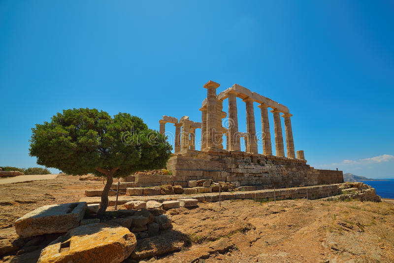 Cape Sounion. The Site Of Ruins Of An Ancient Greek Temple Of Poseidon, The God Of The Sea In Classical Mythology. Stock Photo
