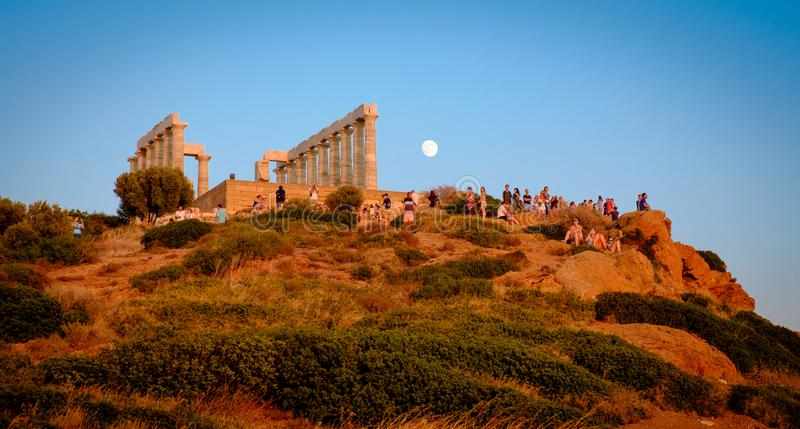 Cape Sounion Sunset, Ancient temple of Poseidon, Cape Sounio royalty free stock images