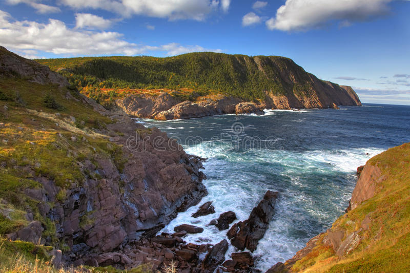 Cape spear. Cliffs and ocean waves at cape spear, newfoundland royalty free stock photo