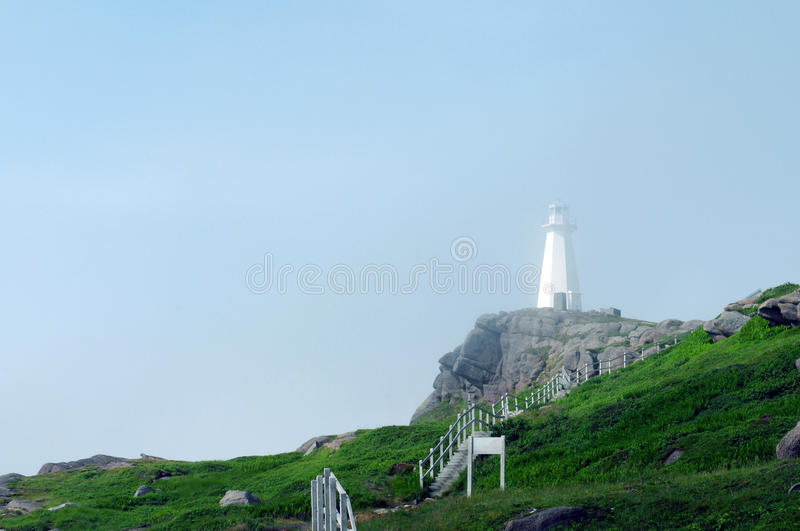 Cape Spear Lighthouse. Mist closes around Cape Spear Lighthouse, Newfoundland - North America's easternmost point stock photography