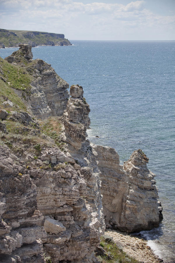 Cape Tarhankut rocks, Dzhangul, Crimea. Black sea stock photos