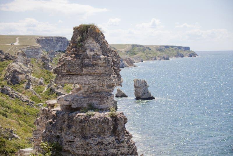 Cape Tarhankut rocks, nature reserve Dzhangul, Crimea. Black sea royalty free stock images