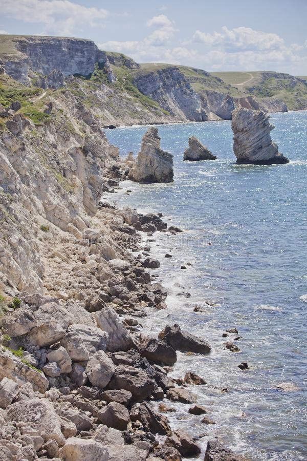 Cape Tarhankut, rocks of nature reserve Dzhangul. Crimea landscape. Cape Tarhankut, rocks of nature reserve Dzhangul, Crimea. Black sea landscape royalty free stock photos