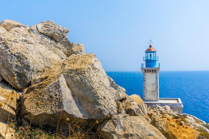 Lighthouse at cape Tainaron lighthouse in Mani Greece. Cape Tenaro, Cape Matapan is the southernmost point of mainland Greece. Situated at the end of Mani, in royalty free stock images