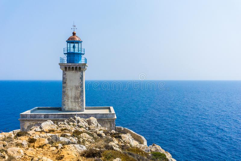 Lighthouse at cape Tainaron lighthouse in Mani Greece. Cape Tenaro, Cape Matapan is the southernmost point of mainland Greece. Situated at the end of Mani, in stock images