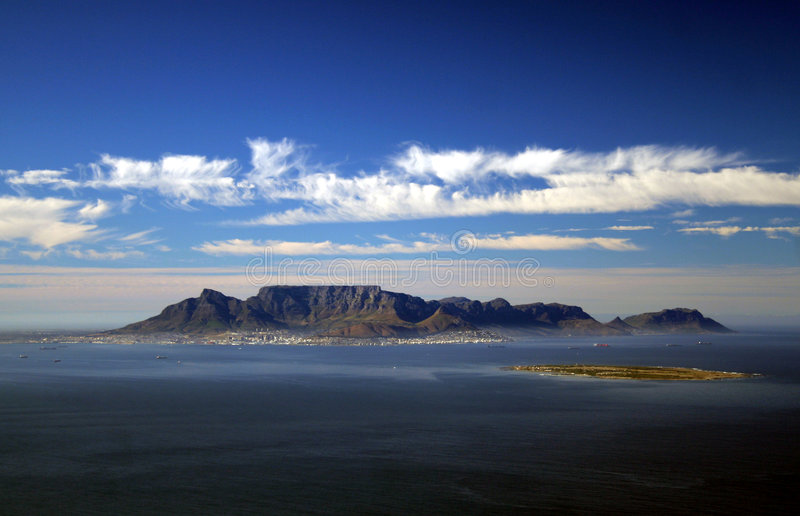 Cape Town Aerial. Aerial image of Cape Town, South Africa with Robben Island in the foreground stock photo