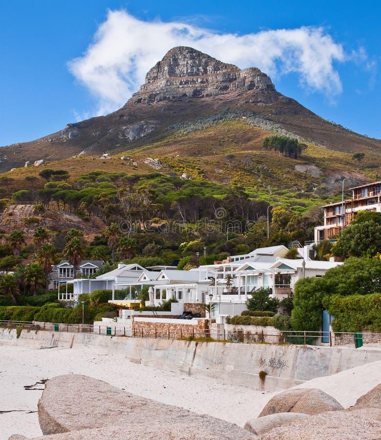 Cape Town Beach. Cape Town's Sea Point beach and Table Mountan royalty free stock photos