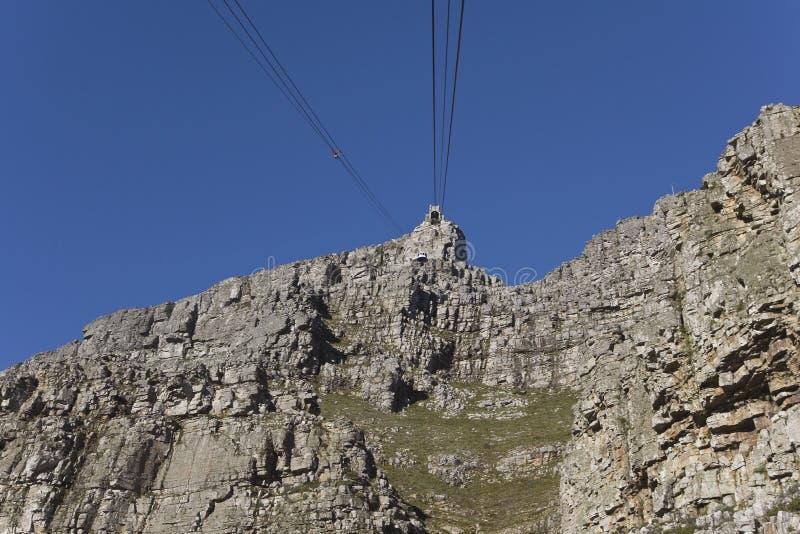 In Cape Town, de heuvel gingen wij met de kabelwagen uit stock foto