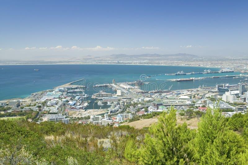 Cape Town en Lijstbaai, mening van haven van Lijstberg, Zuid-Afrika stock foto
