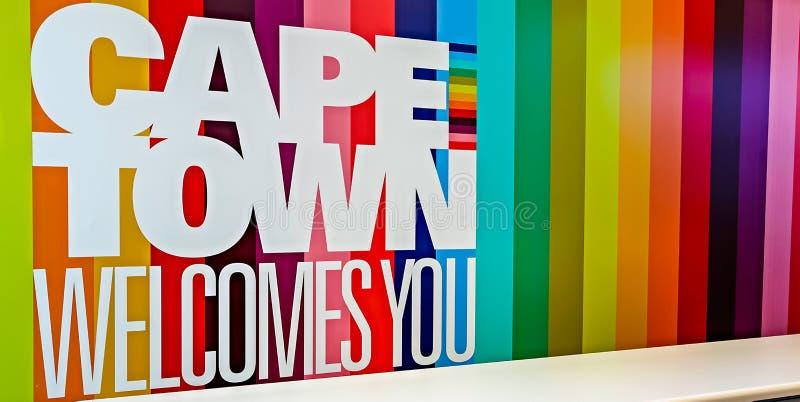 Cape Town - 2011 : Enseigne bienvenue image stock