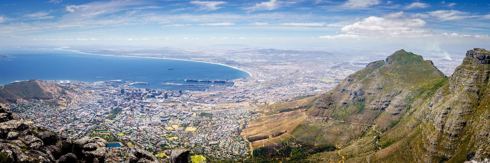 Cape Town panorama, South Africa. Panoramic view of the city of Cape Town the Atlantic coast from Table Mountain royalty free stock image