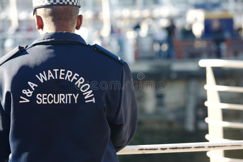 CAPE TOWN/SOUTH AFRICA – NOVEMBER 16 2014: The. Guard in the form on the Bridge in Waterfront, Cape Town horizontal photo royalty free stock photography