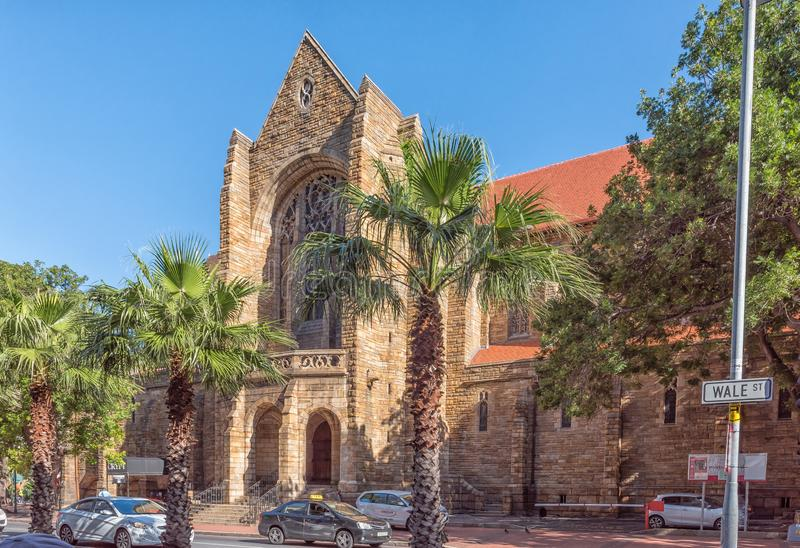 St Georges Cathedral in Wale Street in Cape Town. CAPE TOWN, SOUTH AFRICA, AUGUST 17, 2018: A view of Wale Street with the St Georges Cathedral in the back stock photos