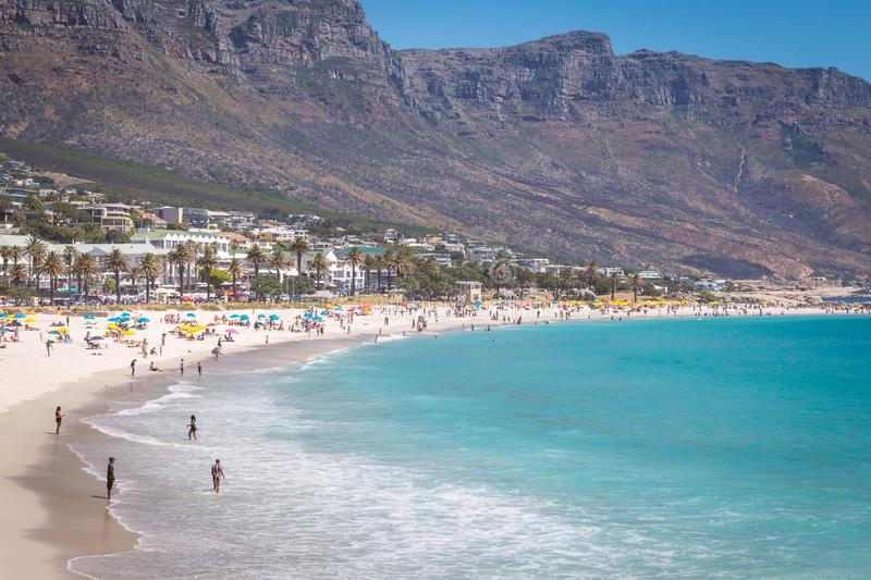 View of Camps bay beautiful beach with turquoise water and mountains in Cape Town, South Africa stock photos