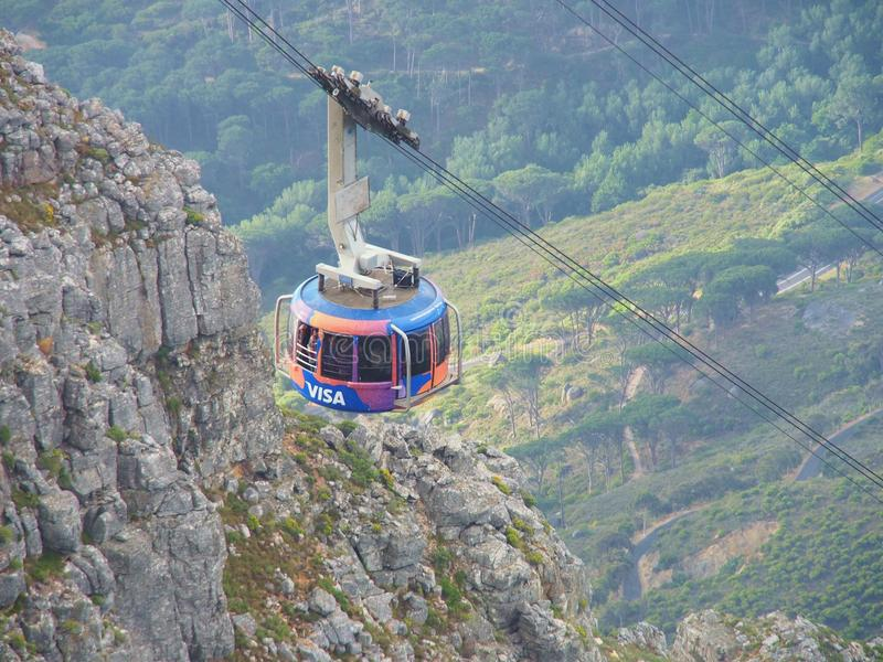 The cable car brings many tourists up to the Table Mountain National Park royalty free stock photography