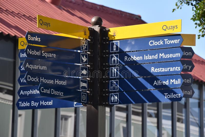 2018-09-13 Cape Town, South Africa: signposts at Victoria and Albert Waterfront stock image