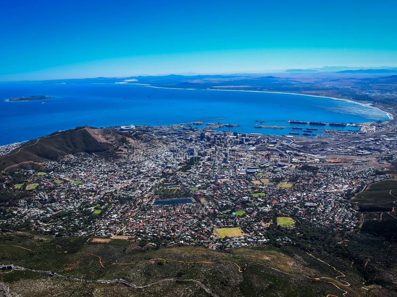 Cape Town South Africa. A view of Cape Town South Africa from the top of Table Mountain stock photos