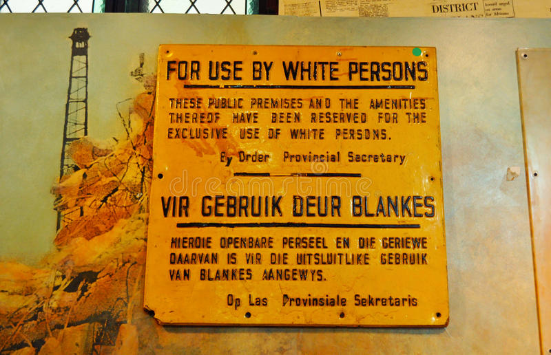 Cape Town, South Africa, Western Cape. Cape Town, 30/09/2009: an old sign For use by white persons used after the forced removal of District Six inhabitants at royalty free stock image