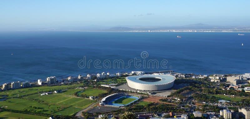 Cape Town-Stadions-Vogelperspektive vom Tafelberg mit schönem lizenzfreie stockfotos