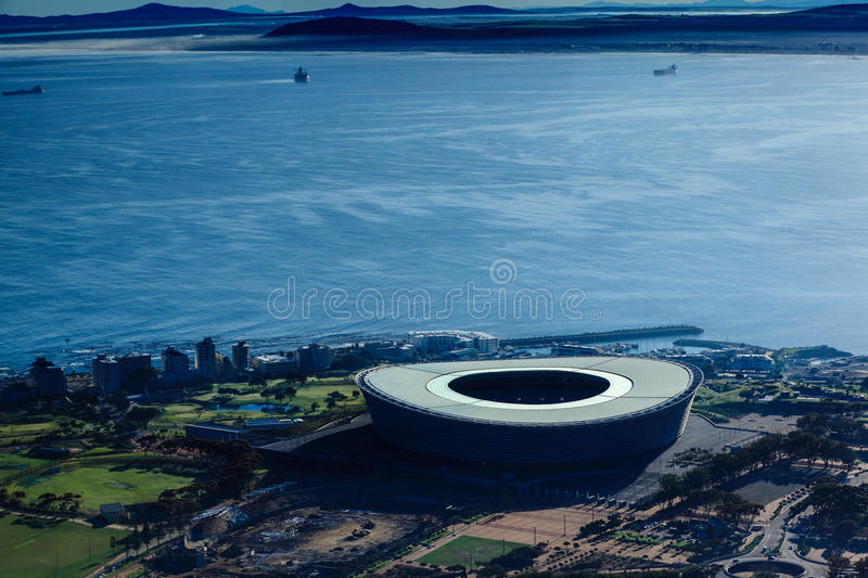Cape town stadium. The Cape Town Stadium (Afrikaans: Kaapstad-stadion; Xhosa: Inkundla yezemidlalo yaseKapa)[2] in Cape Town, South Africa is a newly built stock photography