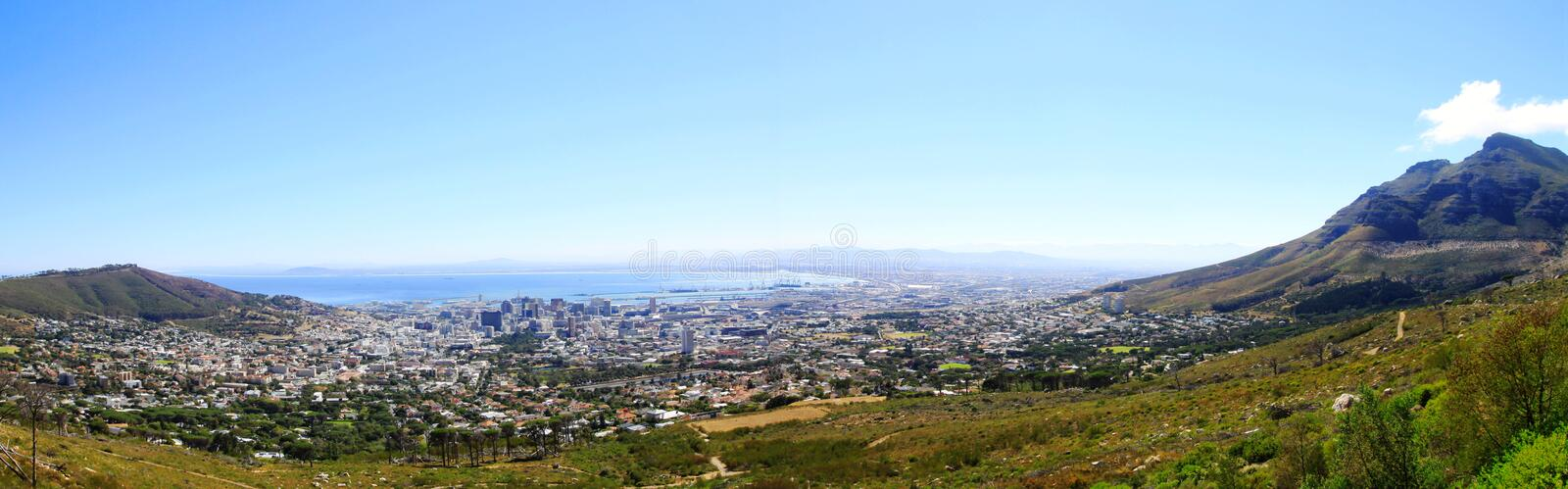 Cape Town and TABLE BAY Panorama. Seen from the Table Mountain,a good view of the Cape Town and TABLE BAY.It is made up of 4 pictures stock photos