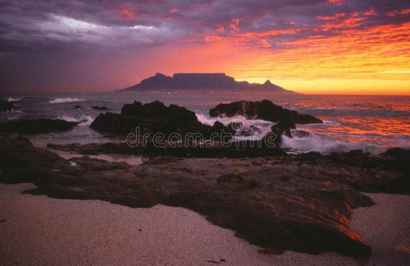 Cape Town - Table Mountain sunset royalty free stock photos